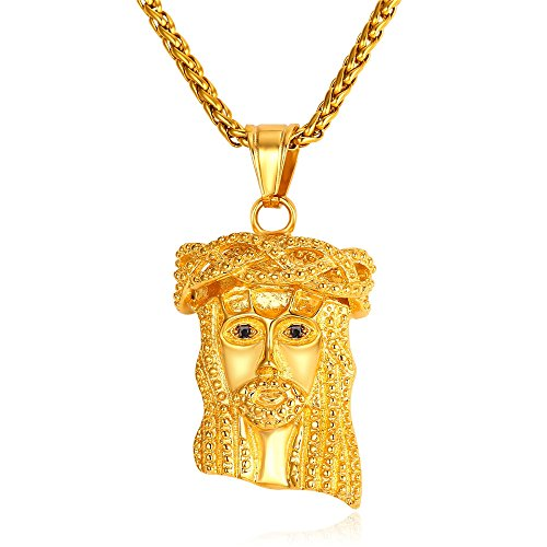 U7 Jesus Piece Pendant 18K Gold Plated Chain Necklace