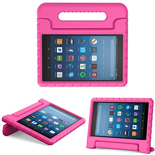 (MoKo Case for All-New Amazon Fire HD 8 Tablet (6th/7th/8th Generation, 2016/2017/2018 Release) Kids Shock Proof Convertible Handle Light Weight Protective Stand Cover Case for Fire HD 8,Magenta)