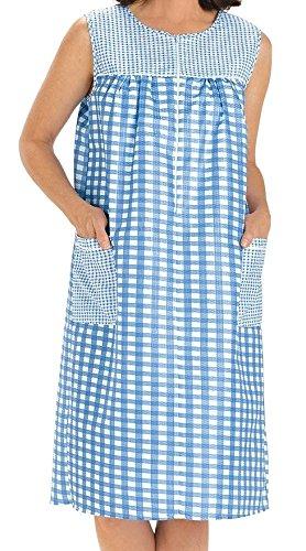(EZI Women's Sleeveless Zipper Gingham Shift House Dress Duster ,X-LargeF,Blue )