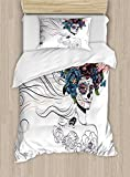 Gothic Decor Duvet Cover Set by Ambesonne, All Souls' Day Mexican Holiday Celebration Female Head Muertos Roses Pattern, 2 Piece Bedding Set with 1 Pillow Sham, Twin / Twin XL Size