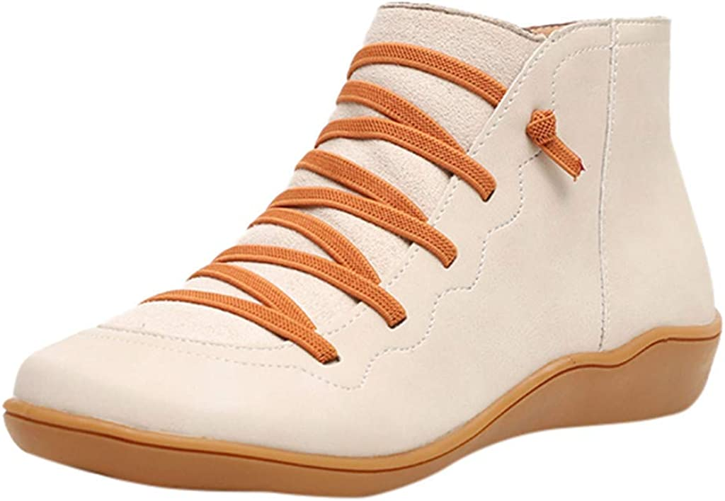 Hotkey 2019 Womens New Arch Support Boots Leather Damping Shoes Side Zipper Booties Casual Platform Lace Up Ankle Booties