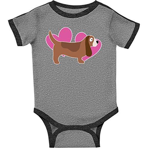 inktastic - Beagle Hound Infant Creeper Newborn Ringer Heather and Smoke 2478b