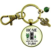 New Southwestern House Keychain Home Where Our Story Begins Cactus Charm Housewarming Closing Gift From Realtor Agent