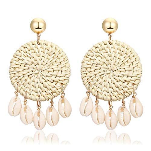 Rattan Shell Earrings Handmade Straw Wicker Braid Woven Drop Earrings Boho Cowrie Shell Chandelier Statement Dangle Stud Earrings for Women Girls (W-round) ()
