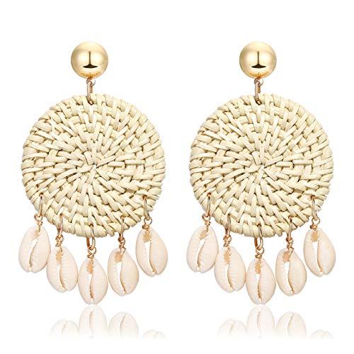 Rattan Shell Earrings Handmade Straw Wicker Braid Woven Drop Earrings Boho Cowrie Shell Chandelier Statement Dangle Stud Earrings for Women Girls (W-round)