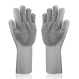Alciono Magic Dishwashing Gloves with Scrubber, Silicone Cleaning Reusable Scrub Gloves for Wash Dish,Kitchen, Bathroom(14″ Large) (1, GREY)