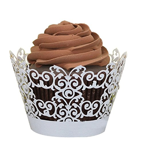 Creazy® 50pc New! Lace Laser Cut Cupcake Wrapper Liner Baking Cup Muffin (White)