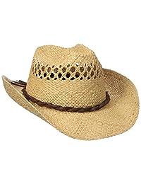 San Diego Hat Co. Men's Raffia Cowboy Hat with Adjustable Chin Cord