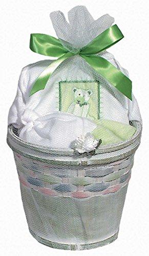 Raindrops Furry Friends Teddy Bear Short Sleeve Body Suit Gift Set, Pistachio Green, 0-3 Months, 4 Piece