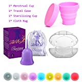Anytime Menstrual Cups with Carry Case & Sterilizer Cup Reusable Medical Silicone Soft Lady Period Cup 6 Colors Small & Large Size (Purple, Small)