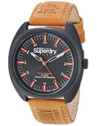 Superdry Men's 'Infantry' Quartz Metal and Leather Casual Watch, Color Brown (Model: SYG228TB)