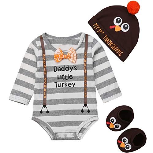 Newborn Baby Boy Girl Daddy's Little Turkey Romper Bodysuit My 1st Thanksgiving Hat Turkey Socks Outfit Set (Coffee+ Gray, 9-12 Months) ()