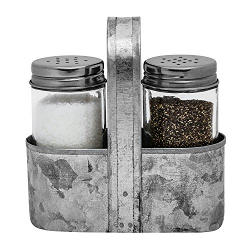 (Farmhouse Salt and Pepper Caddy Set by Saratoga Home | Rustic Vintage Galvanized Decor | Weddings, Restaurants | 3-Piece Set | Easy to Clean, No-Mess Refilling)