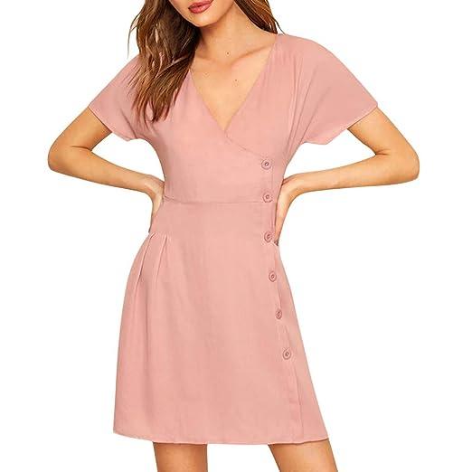Women Short Bell Sleeve Party Casual Mini Dress Tunic Lace Trim S M L XL White