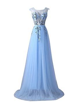 YipGrace Mujeres Elegante Bordados De Encaje Vestidos Largos De Fiesta Azul S