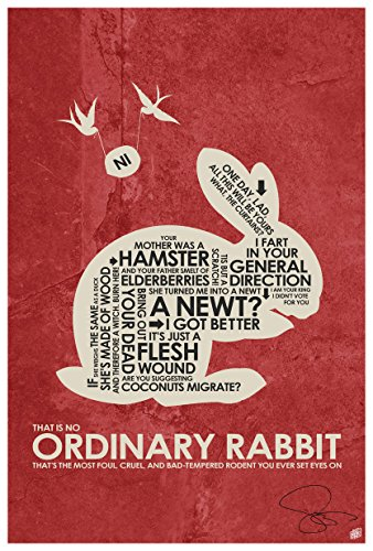 Northwest Art Mall Authentic Autographed Monty Python, Holy Grail,THAT IS NO ORDINARY RABBIT Art Print Signed by Artist Stephen Poon