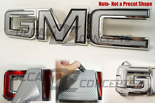 Decal Concepts GMC Sierra/Yukon Silver Carbon Fiber Front Grill Emblem Overlay Wrap Kit (07-17)