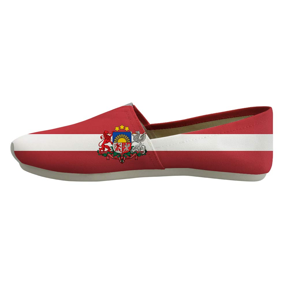 Classic Canvas Slip-On Lightweight Driving Shoes Soft Penny Loafers Men Women Latvia Flag National Emblem