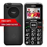 Senior Unlocked GSM Cell Phone Cectdigi T88 Quad Band Dual Sim SOS Button 9 Fast Dial Numbers FM Torch Camera 3D Music Voice Instructions (Black)