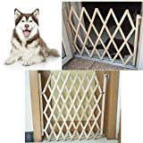 ZUINIUBI Dog Wood Door Folding Dog Gate Safety Fence Protection for Puppy Cat Pet Barrier