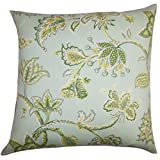 The Pillow Collection P18FLAT-ROB-SEABREEZE-SPA-OUT Walcott Floral Outdoor Throw Pillow Cover, 18'' x 18''