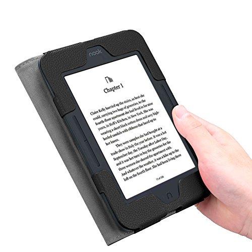 Fintie Case for Nook GlowLight 3, Slim Fit Premium Vegan Leather Folio Cover for Barnes and Noble Nook GlowLight 3 eReader 2017 Release Model# BNRV520, Black