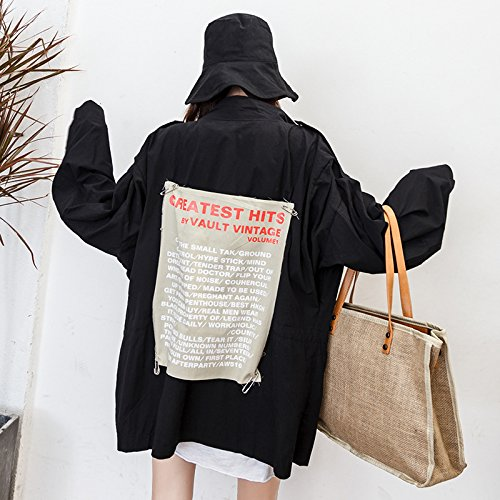 The Behind Wind Femalemean Code In Long Xuanku Hoodie Jacket The The Blackl119 Letters In Relaxd Long TwUIx8qn