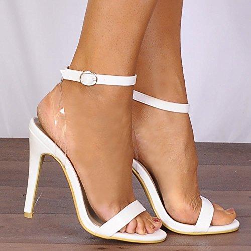 Garde There Talons Stilettos femmes lanières à Toes blanches chaussures Peep hauts Sandales Barely 1x1IrU
