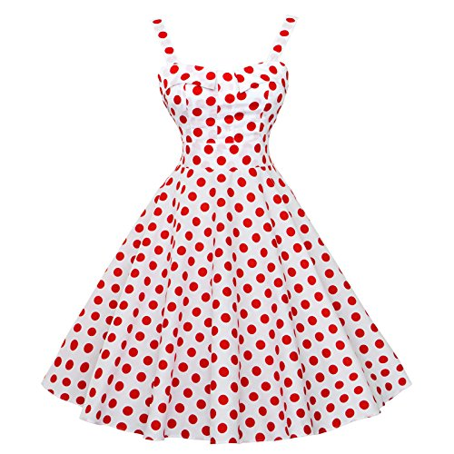 Maggie Tang Women's 1950s Vintage Rockabilly Dress Size 2XL Color White red