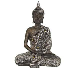 Antique Asian Elephant Meditating Buddha Statue Sculpture Ornament Gift Presents (Dark Buddha Meditating Statue (H:19cm x W:13cm))