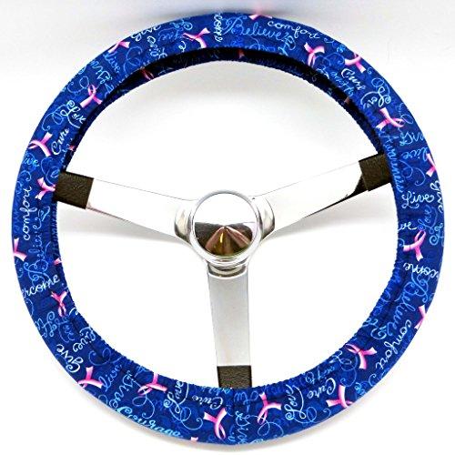 Mana Trading Handmade Steering Wheel Cover Blue Breast Cancer Awareness