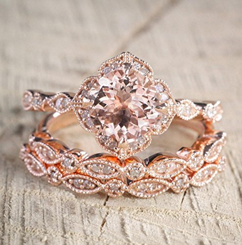 2.25 Carat Morganite and Diamond Trio Wedding Ring Set On Rose Gold with Engagement Ring and Two Wedding Bands - Antique Engagement Ring Set