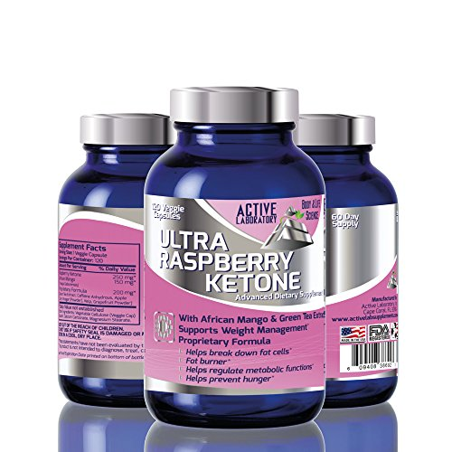Fat Burner Ultra Raspberry Ketone with African Mango and Green Tea 600mg Veggie Caps 60 Day Supply Fast Acting Weight Loss Energy Booster 100% Guranteed By Active Labs
