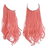Pink Halo Hair Extensions Curly Short Synthetic Hair Piece 14 Inch 3.7 Oz Hidden Wire Headband for Women Girl Kid Party Heat Resistant Fiber No Clip SARLA(M04&Pink)