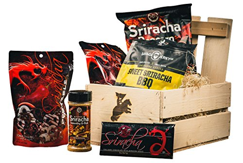 Ultimate Sriracha Snack Crate (Sweet & Spicy) – Specialty Food Gift For Men – Comes in a Wooden Gift Crate – Sriracha Snack Pack Gift Basket
