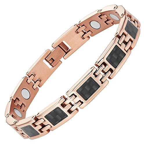 - Willis Judd Womens Titanium Magnetic Bracelet, Rose Gold Tone with Carbon Fiber Adjustable with Gift Box