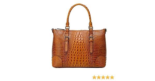 6ca36336bd Vicenzo Carole Croc Embossed Leather Tote Handbag - Brown  Handbags   Amazon.com