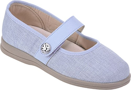 Pale Blue Extra Cosyfeet Shoes Apache Roomy Width Koryl Fitting Eeeee Fabric A8AwOpxqz