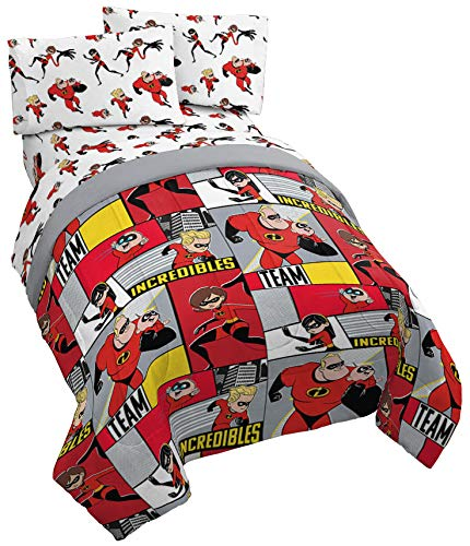 Jay Franco Disney/Pixar Incredibles Super Family 5 Piece Full Bed Set - Includes Reversible Comforter & Sheet Set - Super Soft Fade Resistant Polyester - (Official Disney/Pixar Product) by Jay Franco