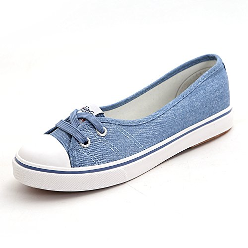 YING LAN Spring Summer Leisure Shallow Mouth Canvas Shoe Lazy Shoes Student Flat Shoes Light Blue