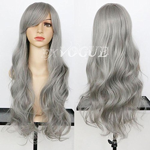 Exvogue Granny Grey Hair Long Body Wave Capless Synthetic Wigs With Side Swept Fringe Bangs