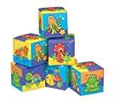 Playgro Bathtime Soft Blocks, 6 Pieces, With Colourful Animal Figures, From 6 Months, Size (each piece): 7 x 7 cm, Multicoloured, 40093