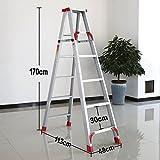 YD-Step stool Aluminum Folding Ladder Household Items Folding Ladder Stool Adult Heavy Folding Ladder White Non-Slip Footstool /&