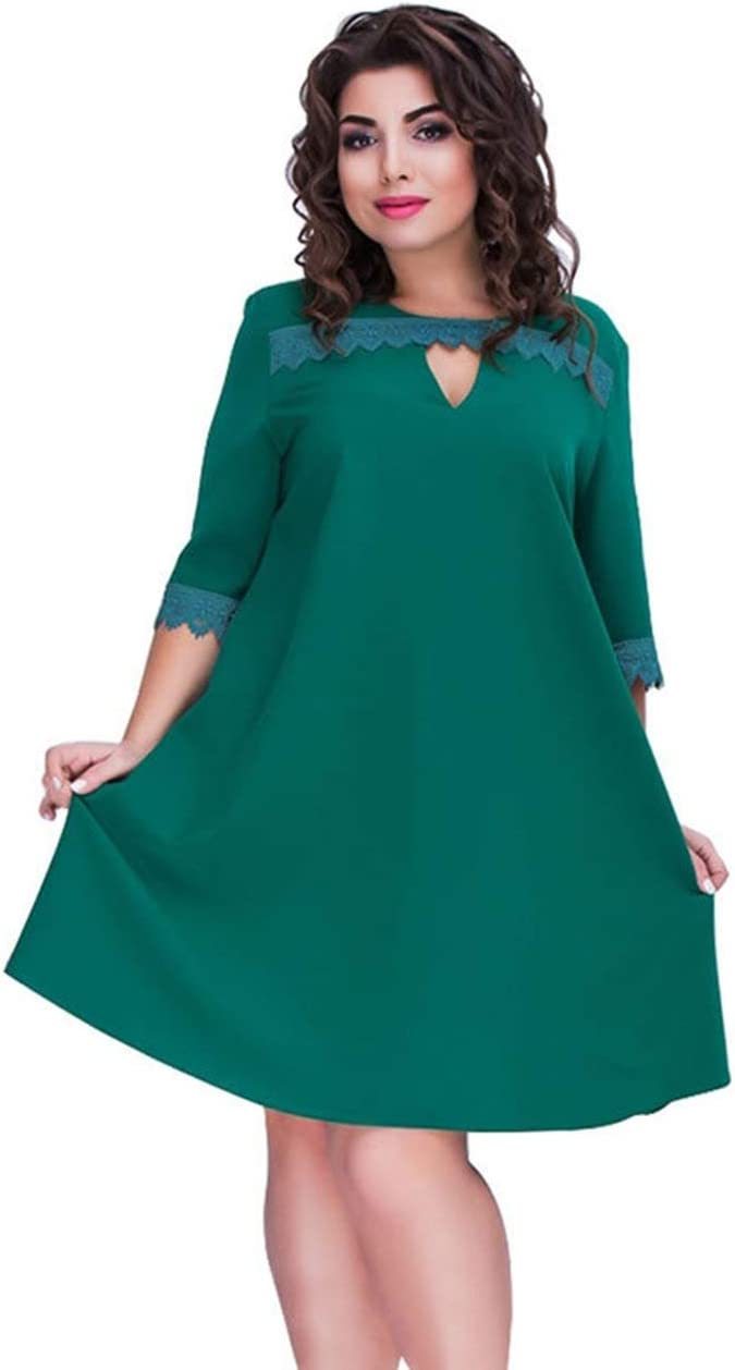 Fashion Charming Dress Medium Sleeves Elegant Lace Stitching Solid Color Large Size Dress for Female Ladies