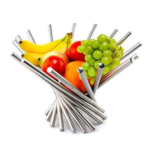 KWODE frutero Creativo, plegable, de acero inoxidable, como decoracion para la cocina y mesa de comedor, color plateado, acero inoxidable, Plateado, A