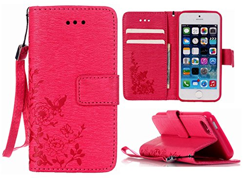 Pink Iphone Jacket - iPhone 6s Plus Wallet Case,iPhone 6 Plus Wallet Case Hynice PU Leather Wallet Purse with Wrist Strap Stand Feature Card Slot ID Card Wallet for Women Men fit iPhone6/6s Plus (Print-Rose)