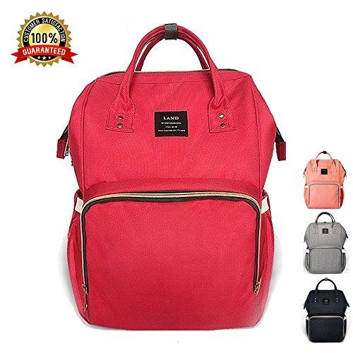 Orange Tiscen Diaper Bag Backpack Baby Changing Bag Rucksack Multi-Function Waterproof Travel Nappy Tote Bags for Mom and Dad with Large Capacity