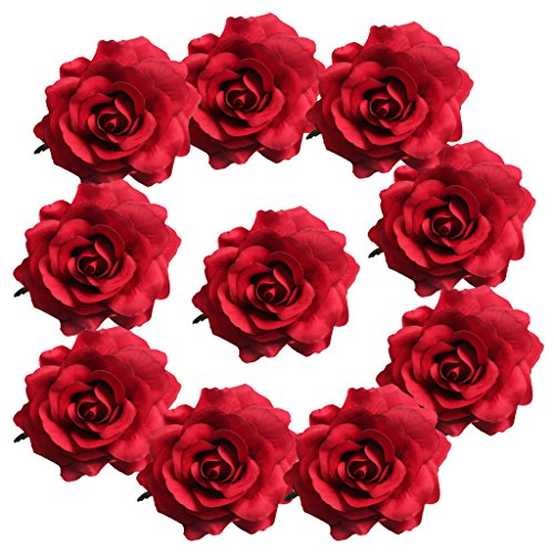 (MagiDeal 10 Pieces Handmade Large Artificial Silk Rose Buds Flowers Heads DIY Scrapbooking Flower Kiss Ball For Wedding Decoration - red)