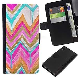 For Sony Xperia Z2 D6502 Case , Teal Pink Gold Drip Paint - la tarjeta de Crédito Slots PU Funda de cuero Monedero caso cubierta de piel