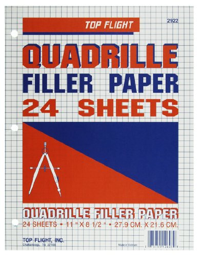 Top Flight Filler Paper, Quadrille Rule, 11 x 8.5 Inches, 24 Sheets (12603) by Top Flight